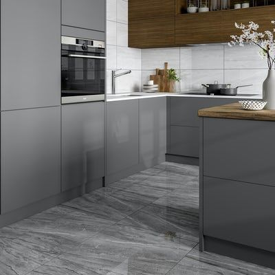 Comet Light Grey Marble Effect Gloss Wall And Floor Tile 300mm X 600mm Victoriaplum Com In 2020 Grey Marble Kitchen Marble Floor Kitchen Grey Marble Floor