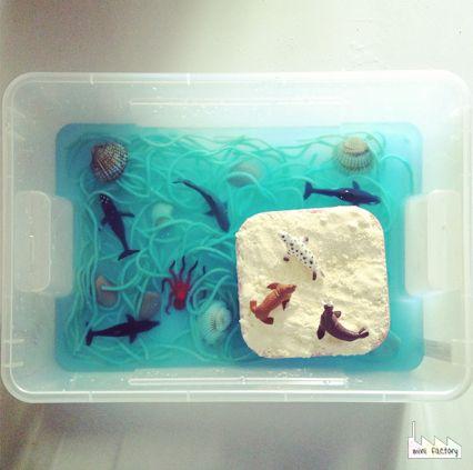 MiniFactory: Settimana blu - alla scoperta del mare - scatole per attività sensoriali under the sea ocean activity sensory box tube for kids toddlers tots preschooler montessori