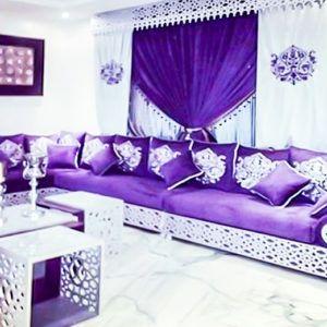 Salon marocain gris violet | salon | Salon marocain, Canapé marocain ...
