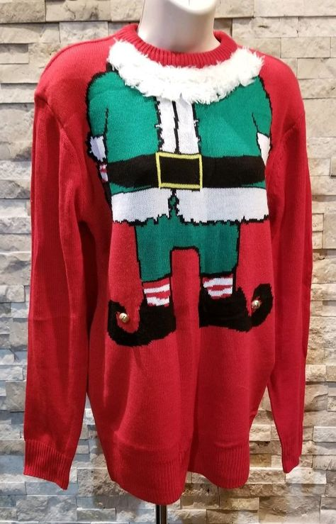 H M Divided Womens Christmas Sweater Xs Red Elf Jingle Bells Ugly