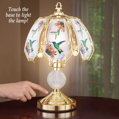 Hummingbird parlor light designer touch lamp 3 way home lighting glass panel