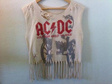 AC/DC Crop Top / Tassle Fringe Top / Muscle Top / Rock N Roll / 70s