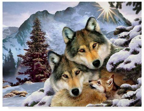 Howard Robinson 'Wolf Family' Canvas Art in.