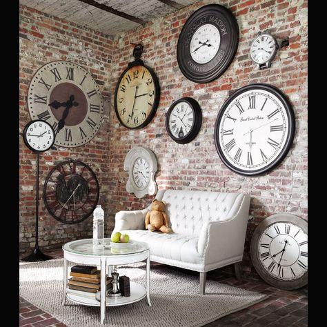 Industrial Chic - wall full of clocks