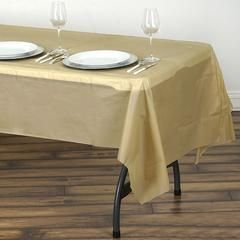 54 X 108 Gold 10mil Thick Disposable Plastic Vinyl Picnic Rectangular Tablecloth Table Cloth Table Covers Picnic Table Covers