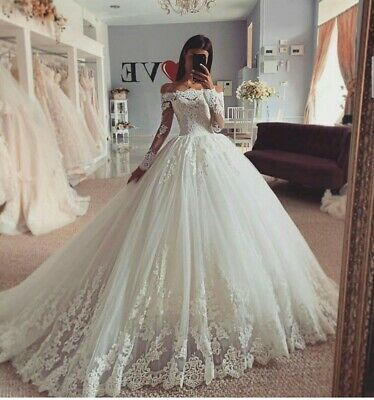 Ad Ebay Url Wedding Dresses Sleeveless Bride Bridal Gowns Bride Long Sleeves Appliques Lace In 2020 Ball Gown Wedding Dress Ball Gowns Wedding Wedding Dresses Lace