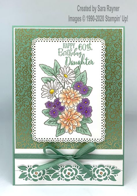 Ornate birthday card using Mint Macaron, Highland Heather and Petal Pink. Mom Birthday Crafts, 60th Birthday Cards, Birthday Cards For Women, Pink Birthday, Candy Bar Posters, Candy Cards, Stamping Up Cards, Flower Cards, Cute Cards
