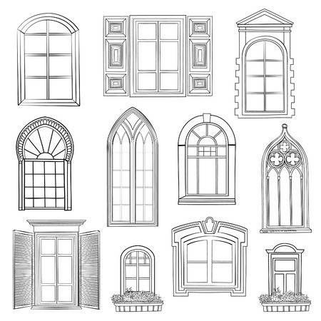 Fenetre Reglee Different Style Architectural Des Fenetres Doodle Croquis Collection Elegante Dessin Architecture Maison Dessin Dessin Fenetre