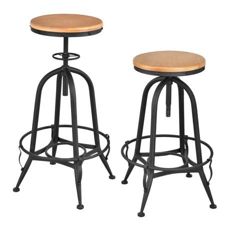 Costway Set Of 2 Vintage Bar Stools Industrial Metal Design Wood Top Adjustable Swivel Walmart Com Vintage Bar Stools Bar Stools Counter Height Bar Stools