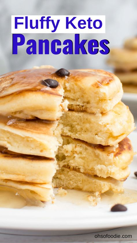 These Fluffy Keto Pancakes made with almond flour, coconut flour and cream cheese are only 3.2g net carbs per serving! These make a quick and easy keto breakfast option for busy or lazy days and they taste so good! #ketobreakfastrecipes #fluffyketopancakes #almondflourpancakes #coconutflourpancakes #easybreakfast #breakfastrecipes #KetoRecipes