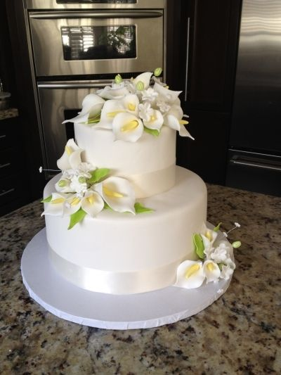 Calla Lilly Wedding Cake By mbakeshop on CakeCentral.com