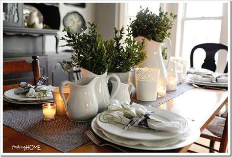 FindingHomeDiningRoomatChristmas thumb Christmas Boxwood and Houndstooth Tablescape