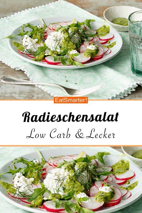 Eiweißreich und vegetarisch: Radieschensalat mit Hüttenkäse - kalorienarm - schnelles Rezept - einfaches Gericht - So gesund ist das Rezept: 9,2/10 | Eine Rezeptidee von EAT SMARTER | Clean Eating, Diät, Eiweißreich, Eiweißreiche vegetarische Gerichte, Gesunde Ernährung, Vegetarisch, Gemüse, Käse, Mittagessen, Abendessen #salat #gesunderezepte