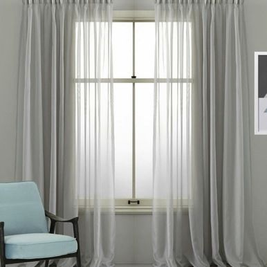 Cotton Look Sheer Pinch Pleat Voile Curtains Grey Voile Curtains Grey Curtains Curtains