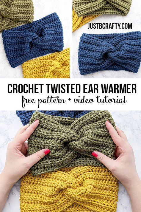 Crochet Twisted Ear Warmer Headband Free crochet pattern and video tutorial by Just Be Crafty crochet crochetearwarmer crochetheadband justbecrafty justbcrafty Crochet Simple, Crochet Twist, Crochet Diy, Thread Crochet, Crochet Crafts, Diy Crochet Projects, Crochet Ideas, Crochet Ear Warmer Pattern, Knit Headband Pattern