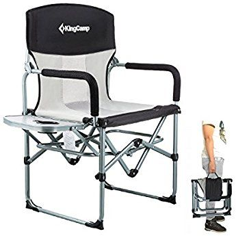 Kingcamp Heavy Duty Compact Camping Folding Mesh Chair With Side Table And Handle Mesh Chair Camping Chairs Chair