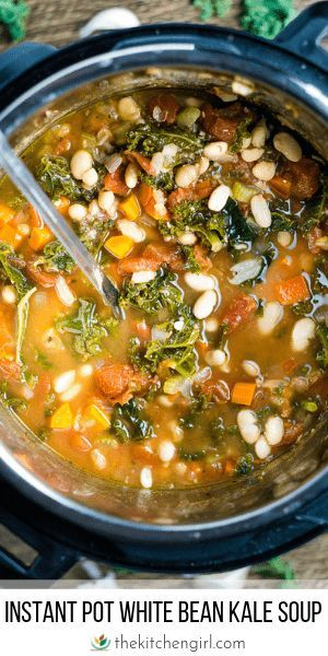 Vegan White Bean And Kale Soup Instant Pot Or Stove Recipe White Bean Kale Soup Bean And Vegetable Soup Kale Soup Recipes
