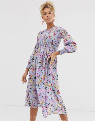 Never Fully Dressed Shirred Midi Skater Dress In Blue Floral Print Midi Skater Dress Midi Dress With Sleeves Dresses