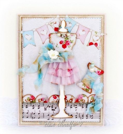 paper love affair  cards handmade sewing cards shabby