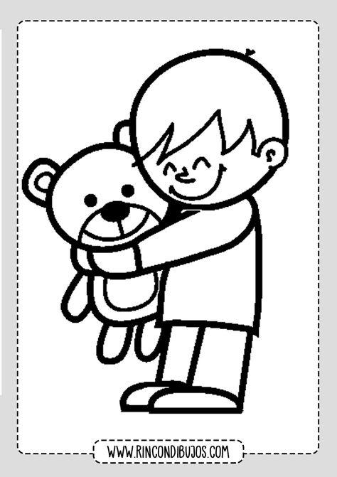 Dibujo De Nino Con Osito De Peluche Rincon Dibujos Character Fictional Characters Vault Boy