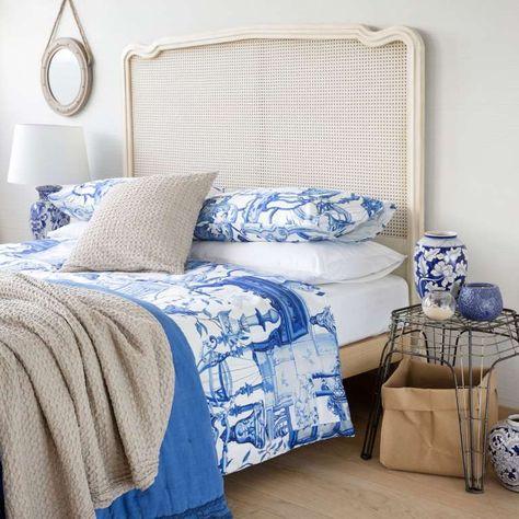 Binacheria letto stampa mobili - Completo letto con stampa mobili in blu e bianco, Zara Home catalogo Primavera-Estate 2016.