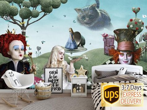 Wall Mural Alice in Wonderland. Alice Wallpaper Cheshire Cat Wall Art. Self Adhesive Wallpaper Alice