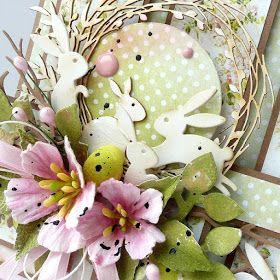 Moja Pierwsza Tegoroczna Proba Wielkanocna Kwiaty Z Papieru Czerpanego Probuja Nawiazac Do Kwiatowego Wzoru N Easter Cards Easter Rabbit Scrapbooking Projects