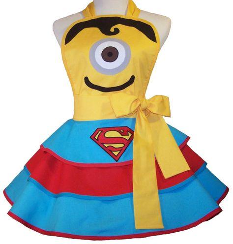 Sexy Supermanion  Fun Minion Apron  Pin Up Style by WellLaDiDa