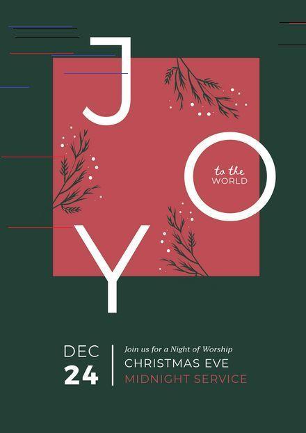 Christmas Eve 2020 : Joy To The World, December 24 Customizable Christmas Day Poster Templates   Easil   Easil Joy to
