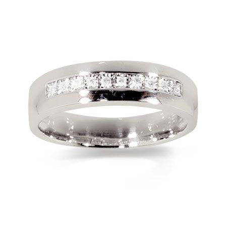 Real Sterling Silver Mens Diamond Band Ring