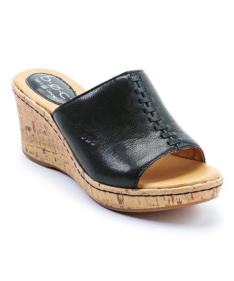 47974f71f97b Black Chandler Leather Wedge Sandal by b.o.c  zulily  zulilyfinds ...