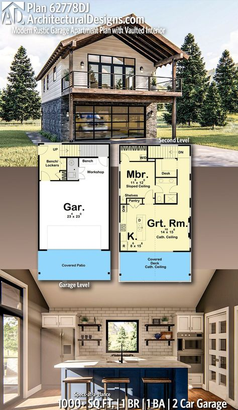 Plan Modern Rustic Garage Apartment Plan with Vaulted Interior Architectural Designs Home Plan gives you 1 bedrooms, 1 sq. plus a 2 Car Garage! Ready when you are! Where do YOU want to build? Garage Apartment Plans, Garage Apartments, One Bedroom Apartment, Garage Loft Plans, Small Apartment Plans, Apartment Ideas, Garage Ideas, Garage With Loft, Above Garage Apartment
