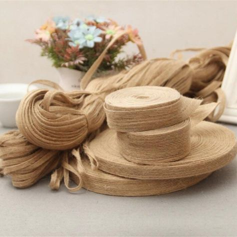 5M Multi Styles Natural Jute Burlap Hessian Ribbon Tapes Roll Vintage Rustic Wed