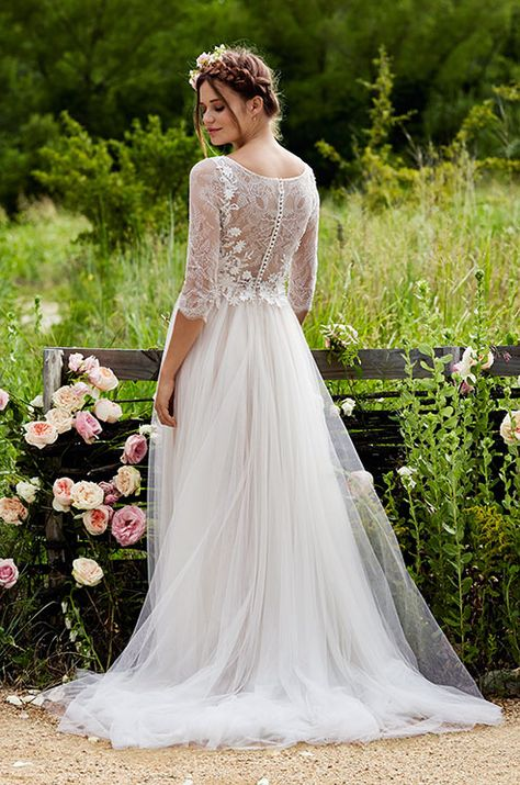 Romantic a-line wedding dress with lace sleeves. Check out the beautiful Love Marley Spring 2015 bridal collection.