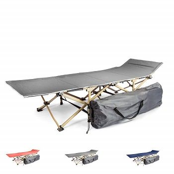 Portable Camping Bed for Adults Sponsi Camping Bed Heavy Duty Folding Camp Bed Cot Single for Travel Outdoor Office Weight Capacity 150kg Camping Cot Bed