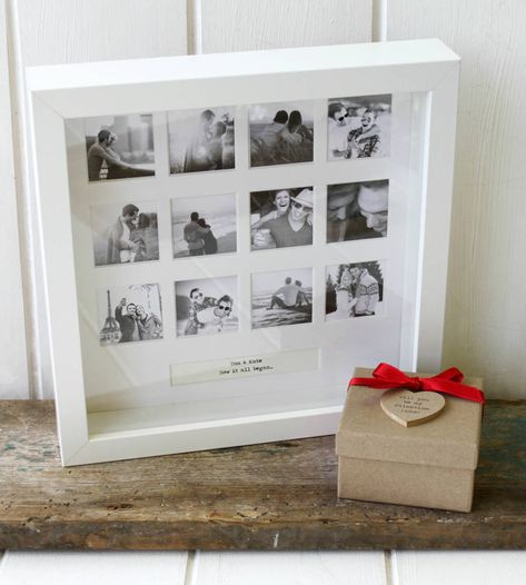 A beautiful personalised photo frame to capture your special anniversary with your loved onePlease note, We cannot deliver this product to Australia due to customs rules. The photograph windows are 4cm x 4cm.  Photographs are not included in the making of this frame, customers must source and input their own photographs once they have received their personalised frame.This elegant frame is perfect to mark an anniversary, wedding, Valentine's or simply to make someone's day. It has a simple, y...