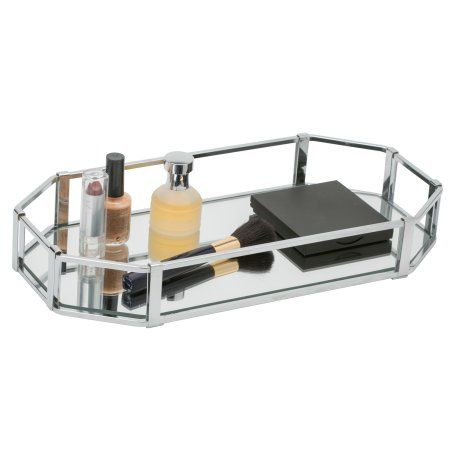 Home Details Octangular Chrome Vanity Mirror Tray Walmart Com Mirror Vanity Tray Vanity Tray Mirror Tray