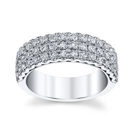 Henri Daussi 14k White Gold Diamond Wedding Band 1 1 4 Ct Tw Gold Diamond Wedding Band Diamond Wedding Bands White Gold Diamonds