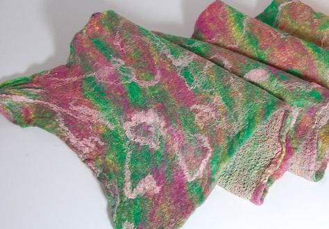 Rainbow Sherbert - Soft, Whimpsical Nuno Felted Scarf - Art Felt - Merino Wool and Silk - Pink, Green, Lime green Winter Accessories