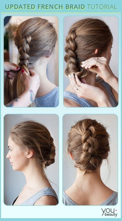 The Tucked-In French Braid. Click for tutorial.