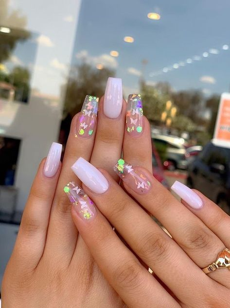 Nail coffin butterfly  35 beautiful pink nail designs  Pink Nails I #beautiful #butterfly #coffin #designs #nails