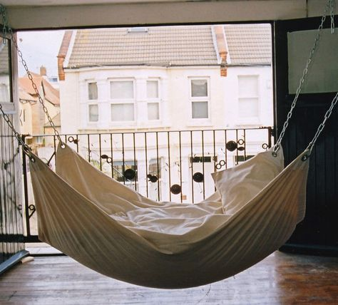 I would love to have a hammock bed or hanging bed in my house.