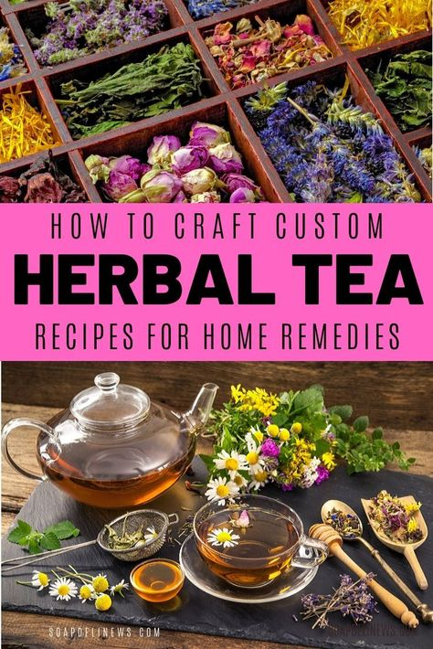 Herbal tea recipes for health and wellness. Learn the benefits of herbal tea recipes plus how to craft your own custom herbal tea blends to use as natural home remedies. Basic herbal tea blending tutorial for wellness. Cold Home Remedies, Natural Home Remedies, Herbal Remedies, Health Remedies, Weight Loss Tea, Herbal Tea Benefits, Health Benefits, Tea For Colds, Organic Herbal Tea