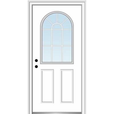 Mmi Door 32 In X 80 In Classic Right Hand Inswing 1 2 Lite Clear Glass Primed Steel Prehung Front Door On 4 9 16 In Frame Aluminum Screen Doors Wood Exterior Door Clear Glass