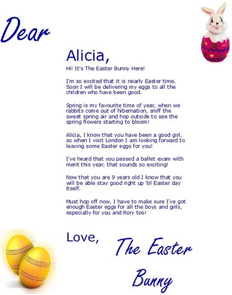 sample of free printable easter bunny letter from easterbunnyletterscouk