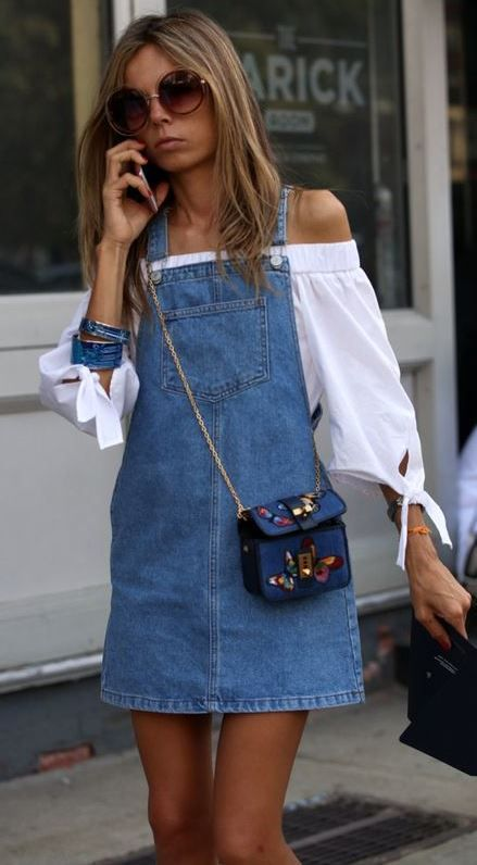 d327d1c35d9 how to wear a printed small bag   white off shoulder top + denim dress