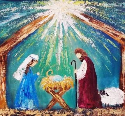 New Painting Tutorial Acrylic Art Journals Ideas Christmas Paintings Christmas Canvas Nativity Painting