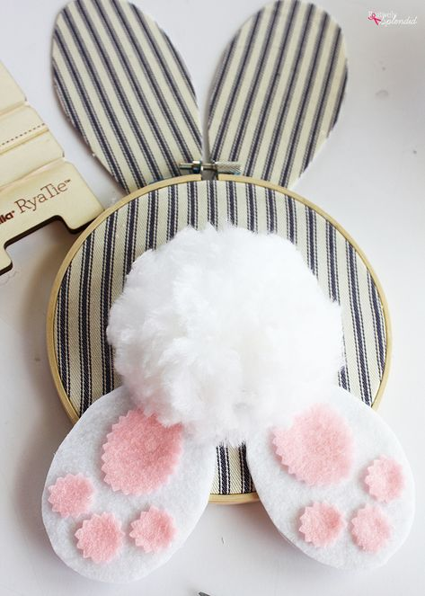 DIY Easter Wreath Idea: Embroidery Hoop Bunny You are in the right place . DIY Easter Wreath Idea: Embroidery Hoop Bunny You are in the right place for easter recipes lemon Here we offer you the most beautiful pictures with t. Easter Projects, Bunny Crafts, Easter Crafts For Kids, Craft Projects, Easter Ideas, Easter Recipes, Spring Crafts, Holiday Crafts, Embroidery Hoop Decor
