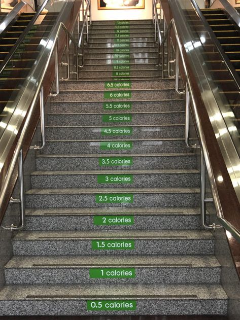 This stairway at the hospital shows how much calories you burn climbing each steps