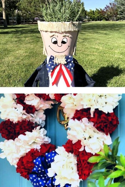Quick DIY outdoor July 4thdecoration ideas. Easy diy dollar tree 4th of July decorations and crafts. #july4th #4thofjuly #decorations